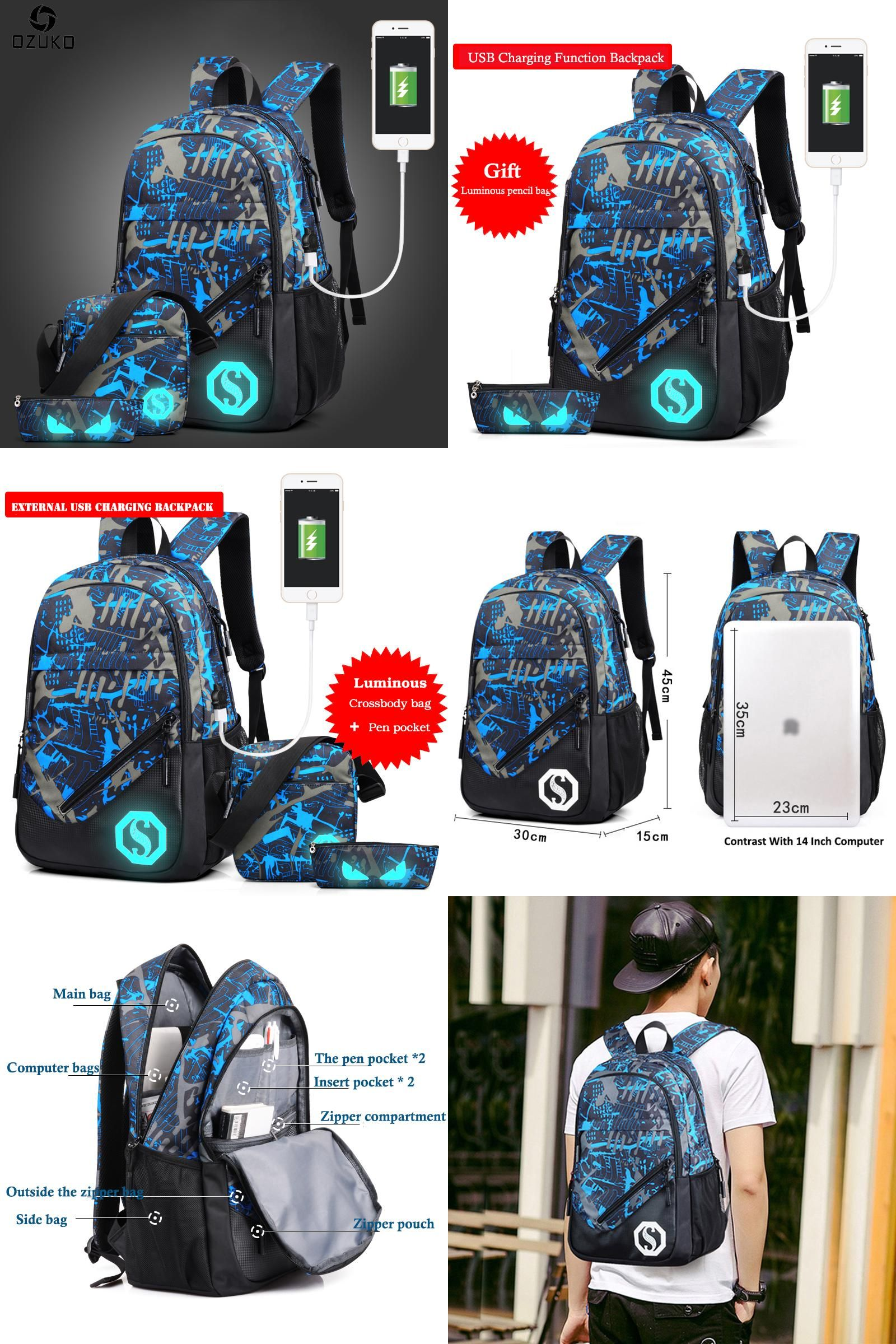 159f0e9edff46  Visit to Buy  OZUKO Fashion Men s Backpack Luminous Students School Bags  External USB Charge