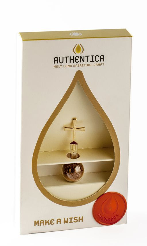 Authentica Soil from the Holy Land | Yardenit.com Hand-made drop glass filled with soil sealed with a golden cross.  Somewhere in the Holy Land, not far from the Jordan River stands the studio of artist Oren sagi, who specialized in unifying blown-glass with metal.