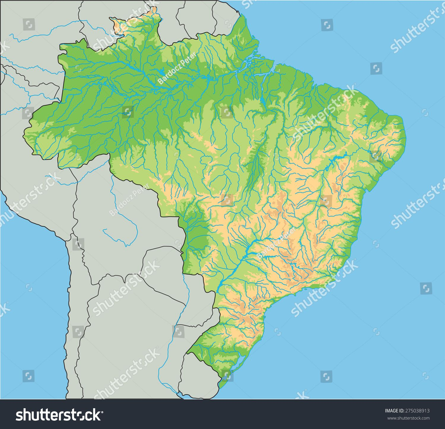 High Detailed Brazil Physical Map