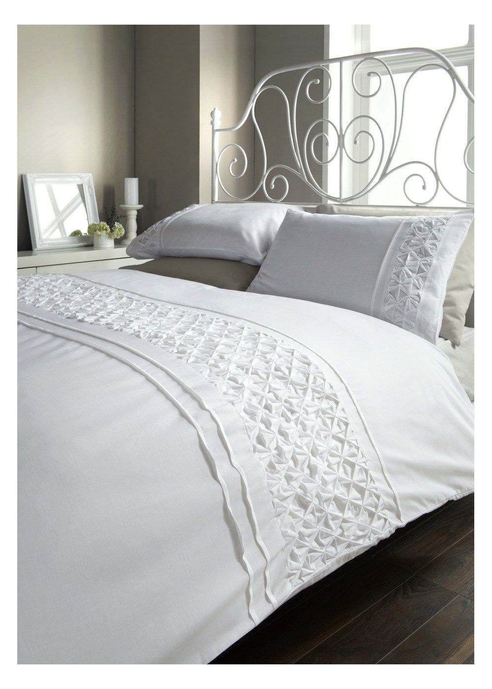 duvet glam decor ruffle inspiration bedding canopy and products cover ruched crane ruffles soft bedroom the vienna white