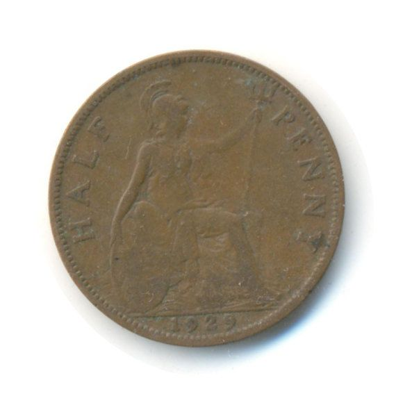 George V Half Penny 1929 Coin Code:RSC1843 by COINSnCARDS on Etsy