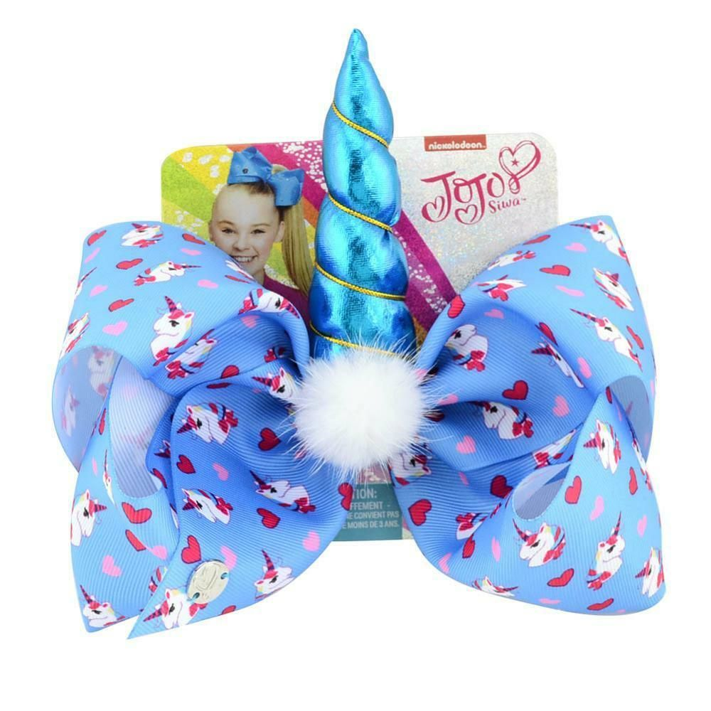 Details about JoJo Siwa Large 8″ Hair Bows With Clip Unicorn Horn Star Heart Colorful Hairpins