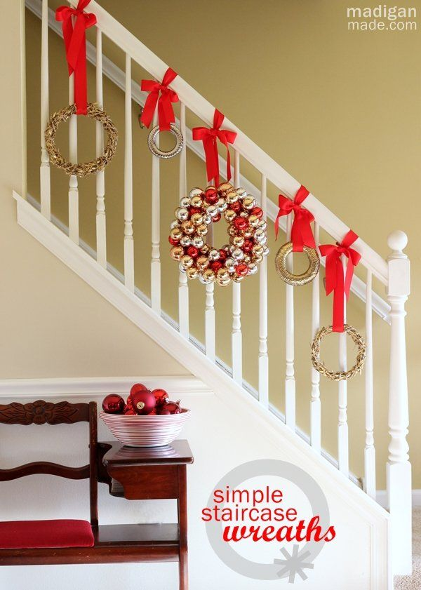 Decorating a Staircase for the Holidays with Wreaths -- cute idea ...