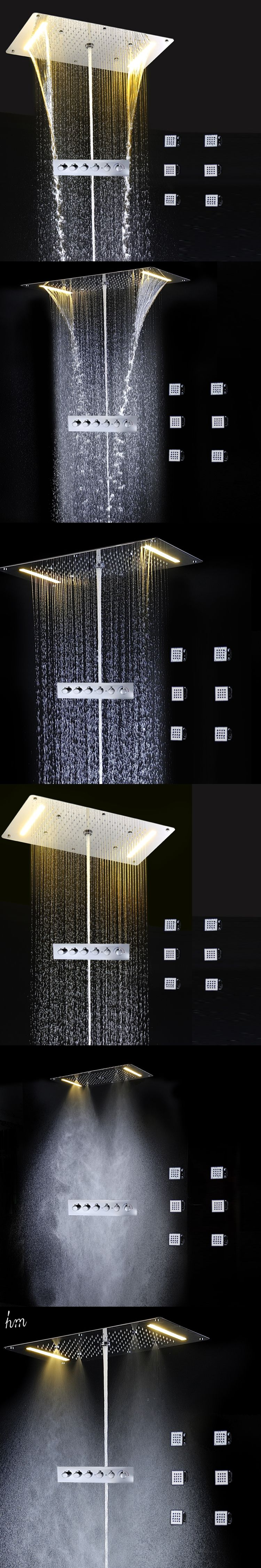 Embed Ceiling Rainfall Showers Set Led Electric Power Bathroom 5 Way ...