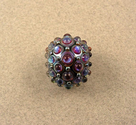 EVOLVING  Studded Kalypso Focal  Lampwork by EvolvingCreations, $50.00