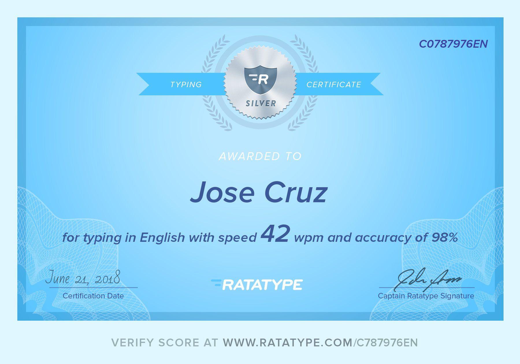 certificate typing test speed job scores