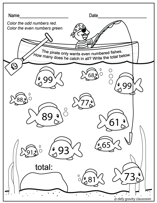 Odd And Even Numbers Color Worksheet Prep Free 1st