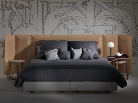 Eden Plus bed, design by Antonio Citterio for Flexform. Jiff side tables., both designs made in Italy.