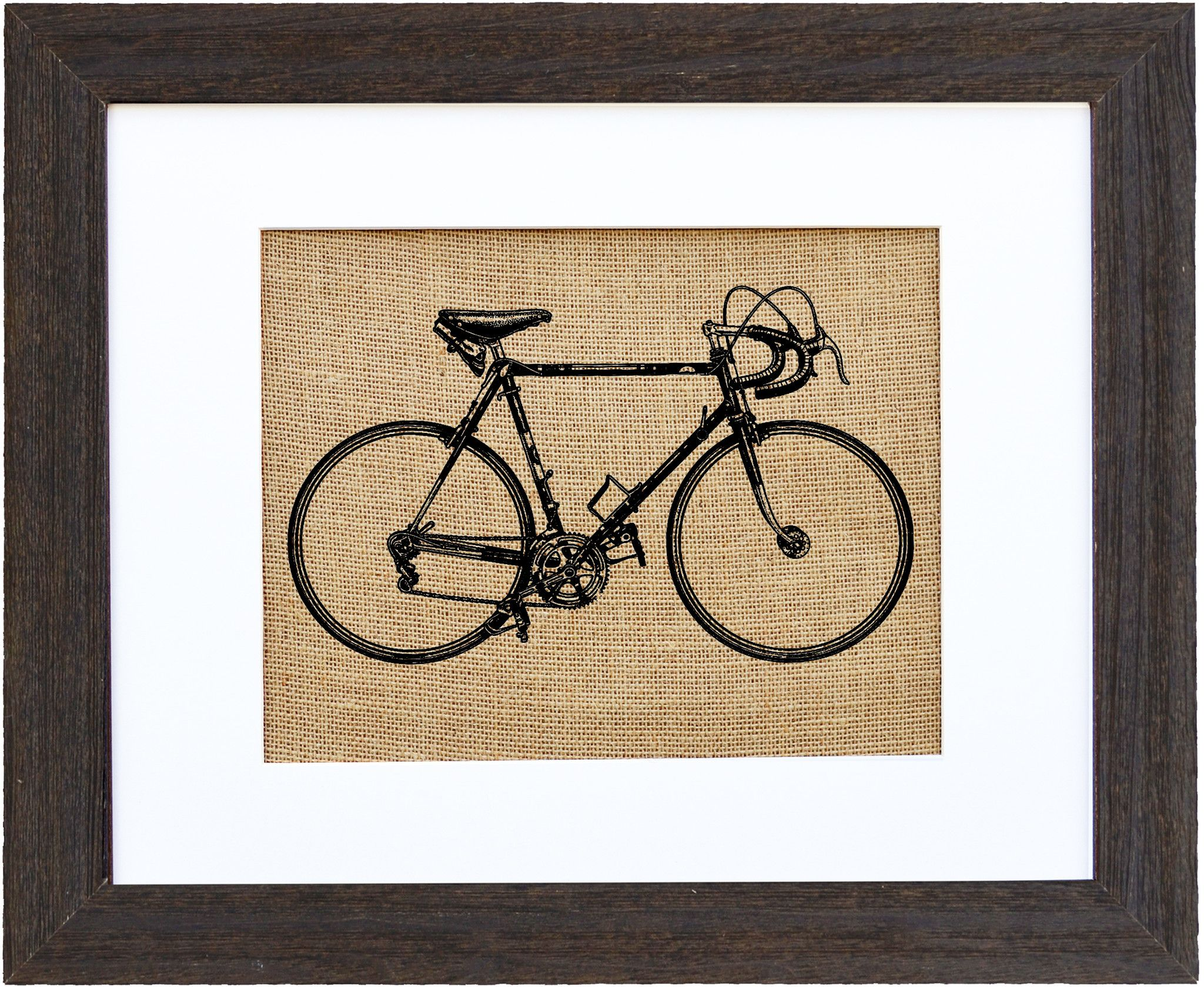 Vintage 1940's Racing Bicycle Burlap Art wall decor by Fiber and Water || rustic natural burlap home decor with athletic racing bike- for him, for her, for them