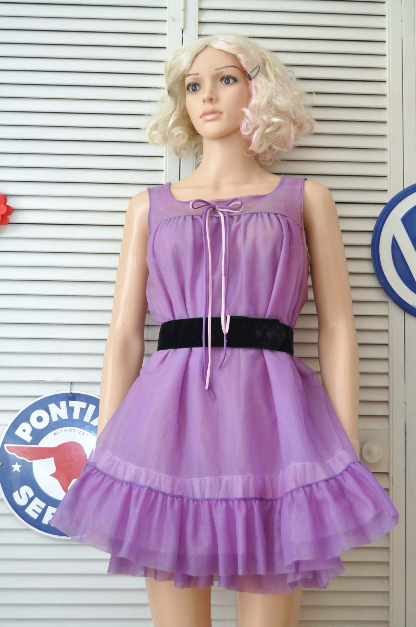 Vintage Womens Baby Doll Night Gown 60s/Lavender Purple Bow Trim ...