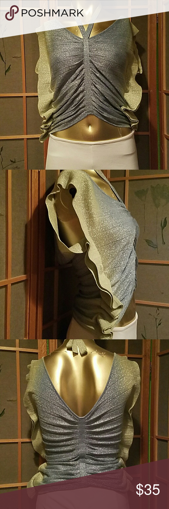 """BeBe Silver & blue metallic thread top...Sz..S This top looks like a butterfly....It has a neck tie...The front is gathered... Chest...34"""" Len5..27"""" bebe Tops"""