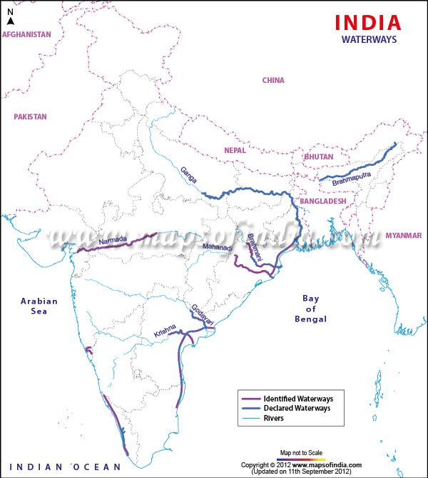 India Has A Wide Network Of Inland Waterways Which Consist Of - Us inland waterways map