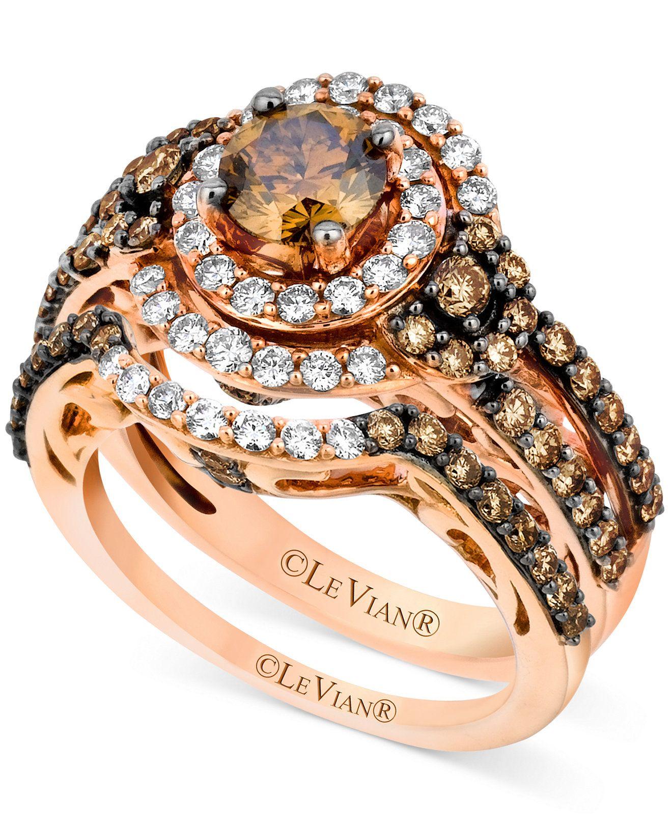 Le Vian Bridal Set Chocolate Diamond 1 3 4 ct t w and White