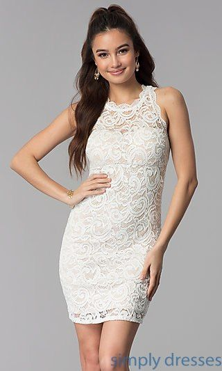 1743d009b87b7 Short Empire-Waist Grad Party Dress in Ivory Lace | nightving | Prom ...