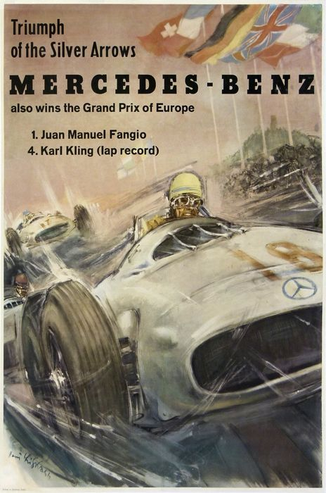 Mercedes benz fangio karl kling grand prix europe silver for Mercedes benz poster