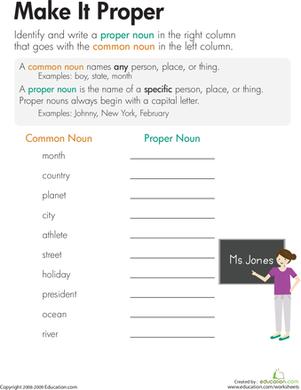 Nouns: Make It Proper | Common and proper nouns, Make it and Kid