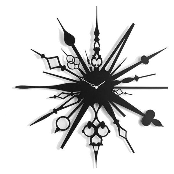 Diamantini & Domeniconi Millelancette Clock ❤ liked on Polyvore featuring home, home decor, clocks, metal home decor y metal clock