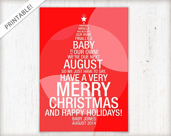 Christmas Tree Pregnancy Announcement   Holiday Card   New Baby Announcement    Custom Made Ideas