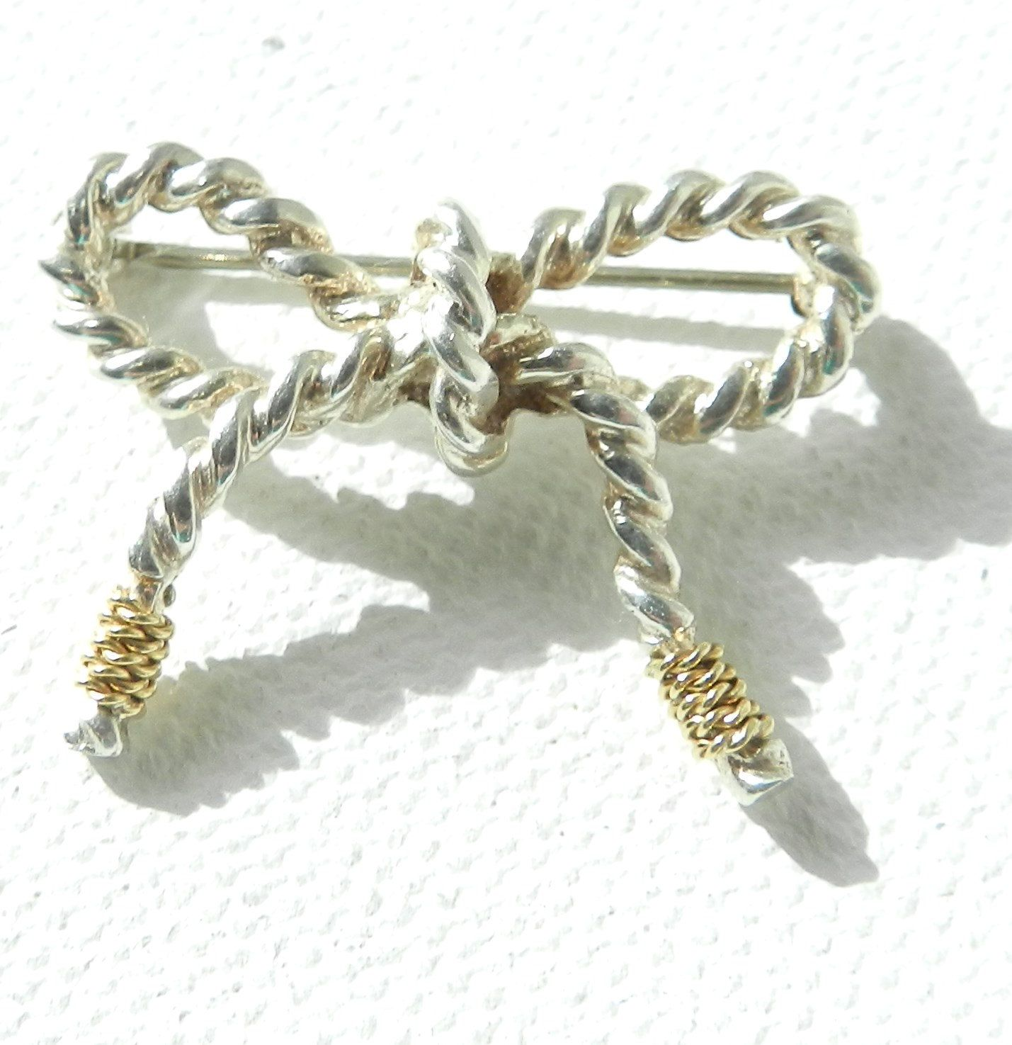 31eb5bc9bd79 AUTHENTIC Tiffany   Co. Bow Brooch 18K and Sterling Silver Twist Rope  Design