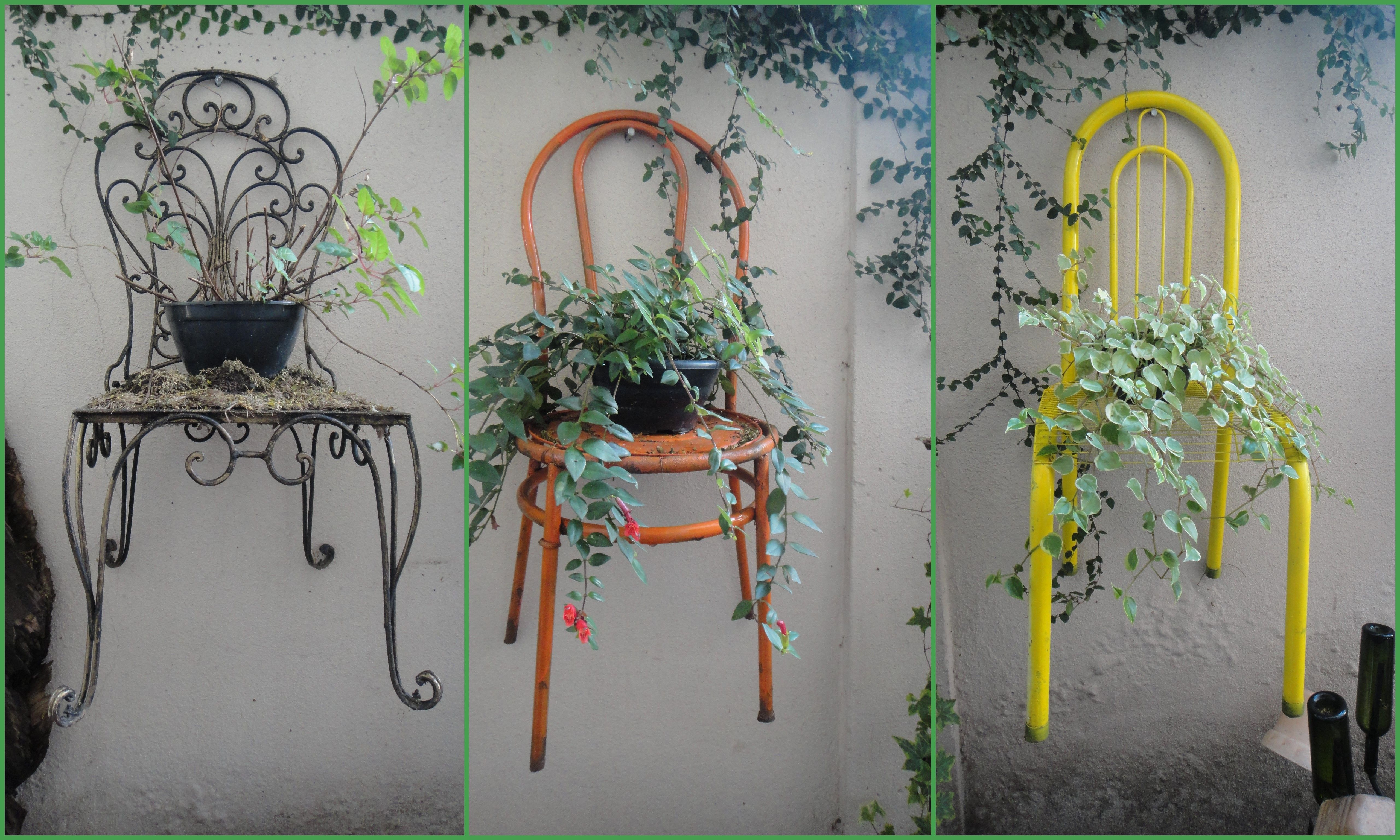 Chairs that i found in the trash painted and hung on the wall of my