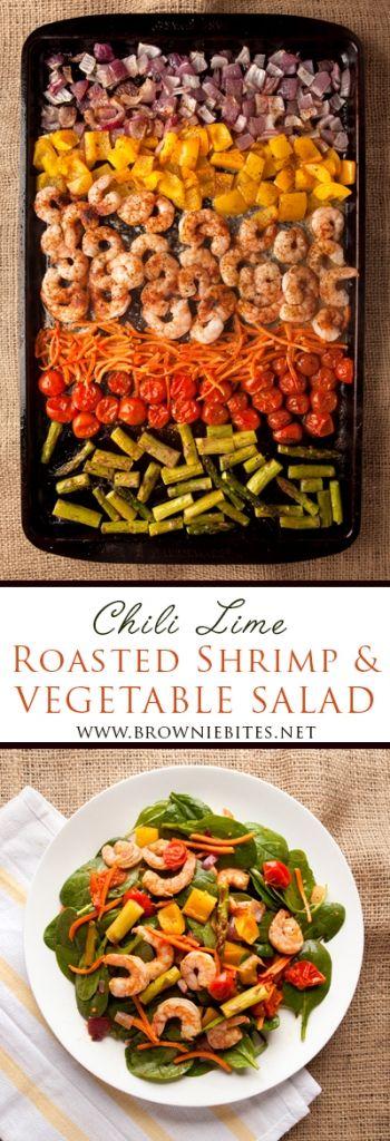 Chili Lime Roasted Shrimp and Vegetable Salad #shrimpseasoning