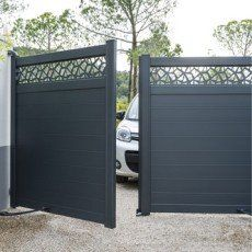 portail battant mix it naterial l 300 x 170cm gris anthracite driveway n parking lot. Black Bedroom Furniture Sets. Home Design Ideas