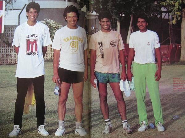 Rare picture of Pakistan's fearsome four, Wasim Akram, Imran