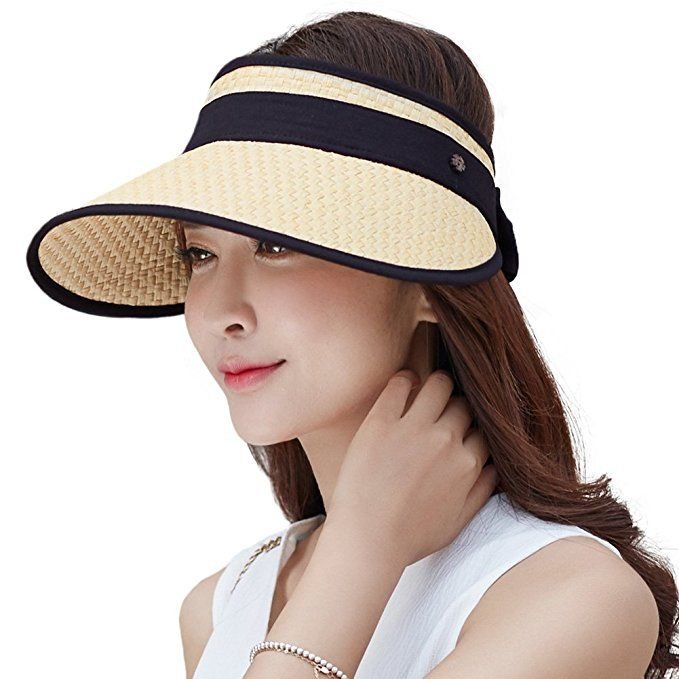 0dfc273697e24 Siggi Wide Brim Straw Visor Cap for Women Packable Summer Sun Hat w   Detachable Face Mask Neck Flap SPF50 Beige