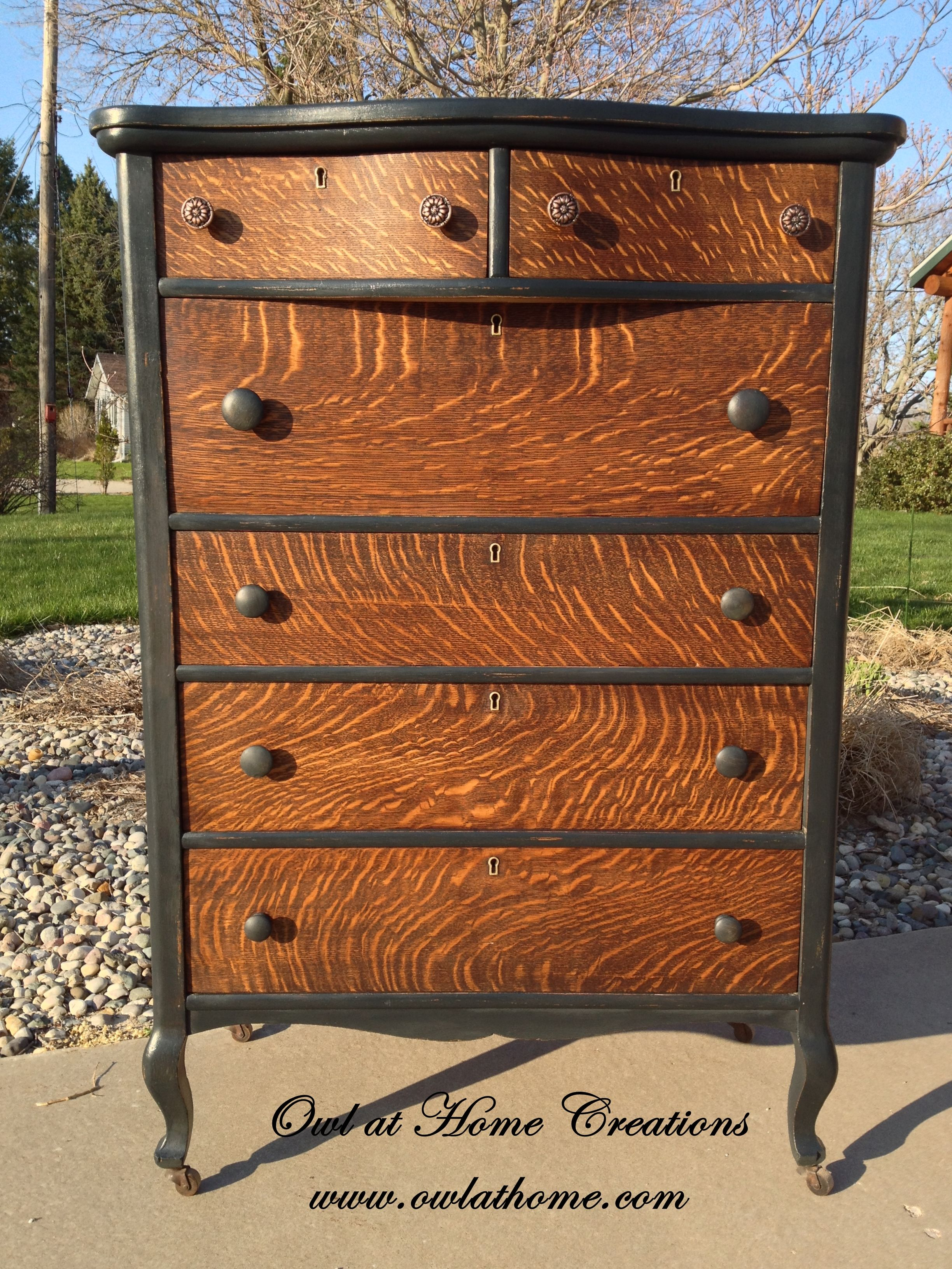 Quarter Sawn Oak Antique Dresser Painted With Maison Blanche Wrought Iron