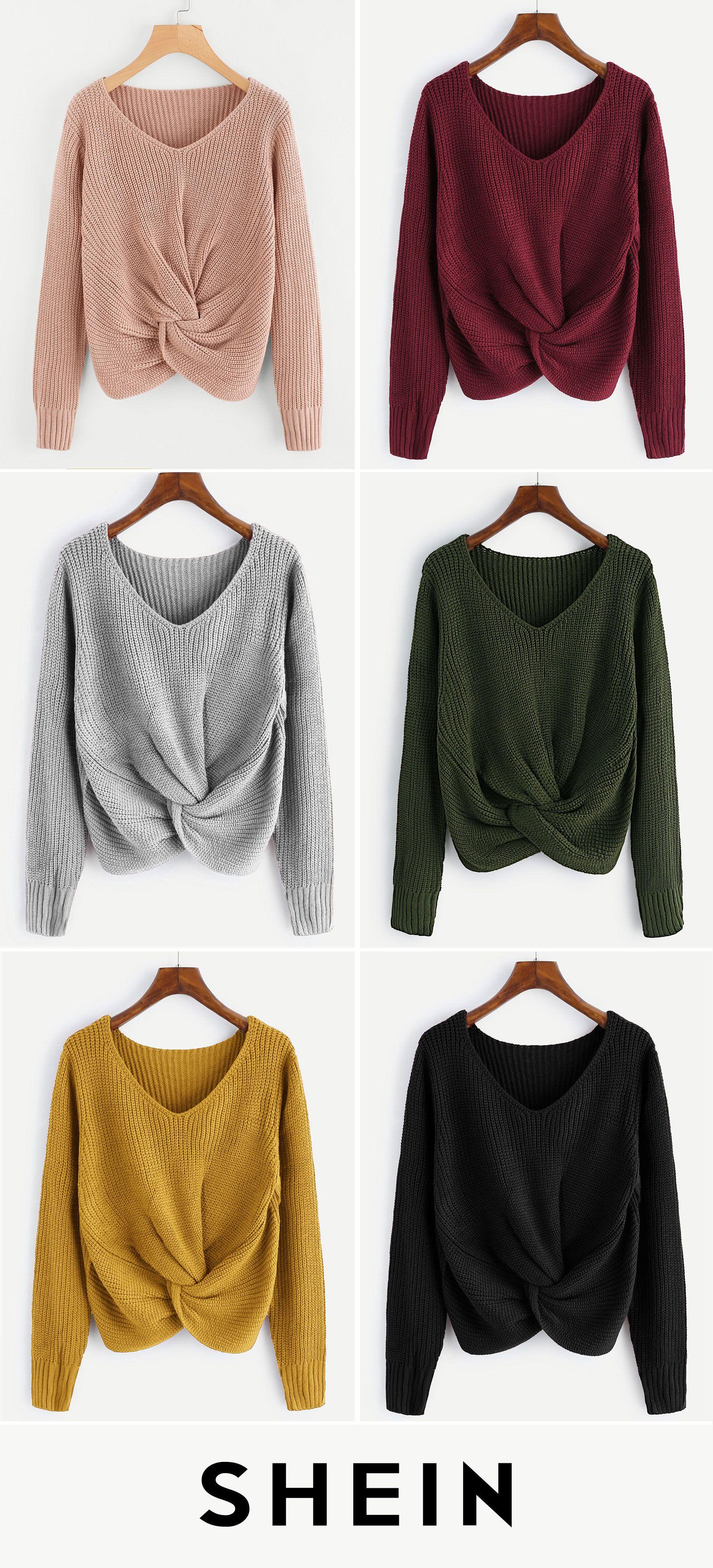 0cbc5da53c V-neckline Twist Front Sweater