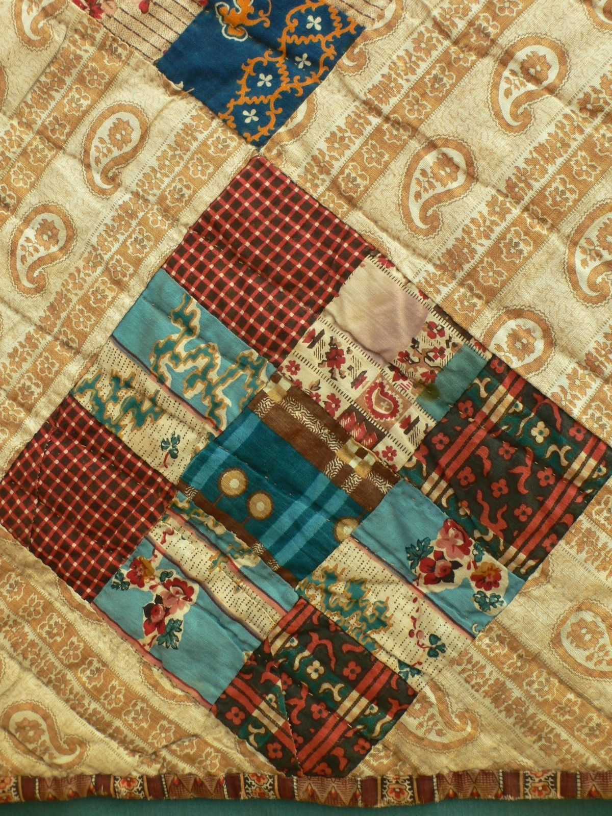 Fabric Lover S Mid 19c 9 Patch Antique Quilt With Buff Blue Cheater Backing Quilts Antique Quilt Fabric