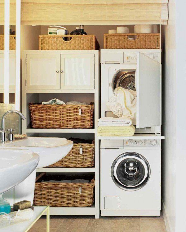 Small Laundry Room Design Ideas Sink Storage Cabinets Shelves Woven Baskets