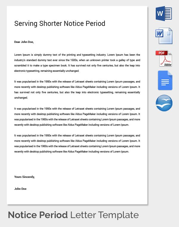 notice period letter templates free sample example format Home - employment contract free template