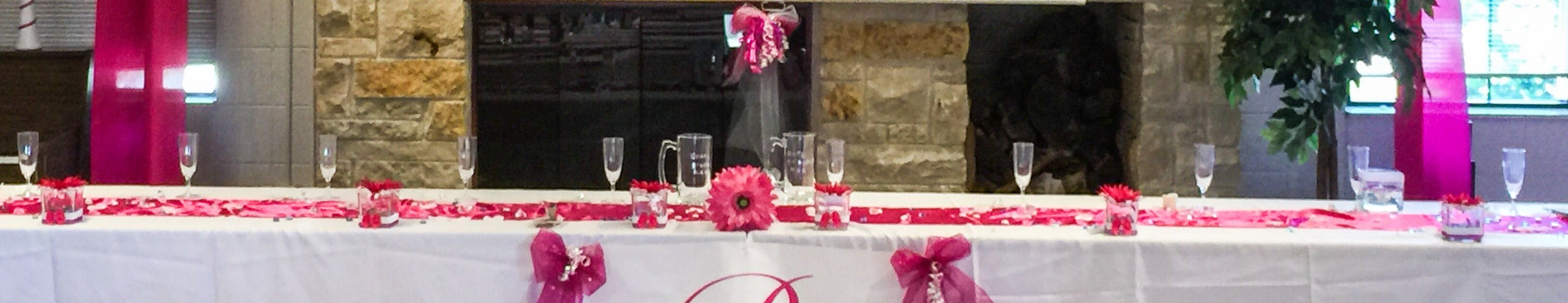 Adding pink and white candle holders and pink tulle bows adds just the right amount of glam!