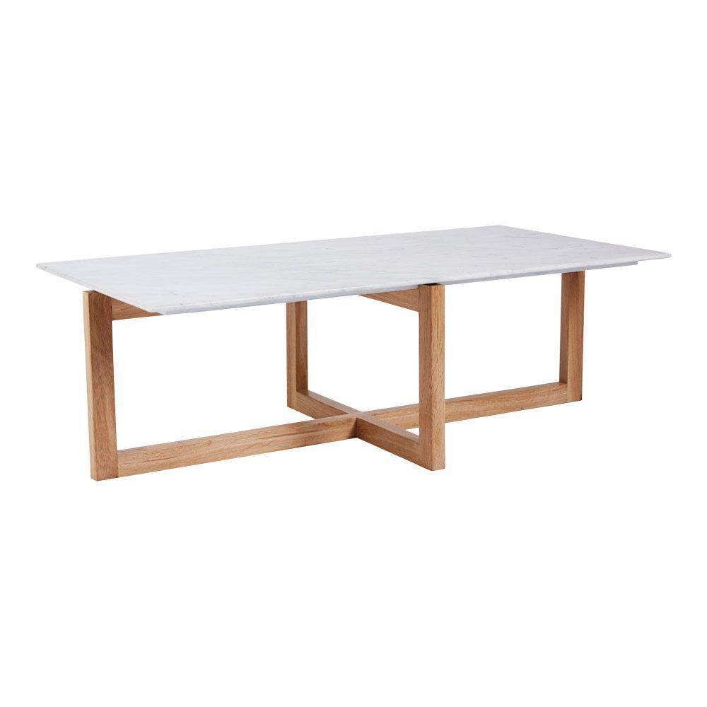 Modern Designer Italian Marble Coffee Table Oak Wooden Base  # Muebles Tubulares Ponce