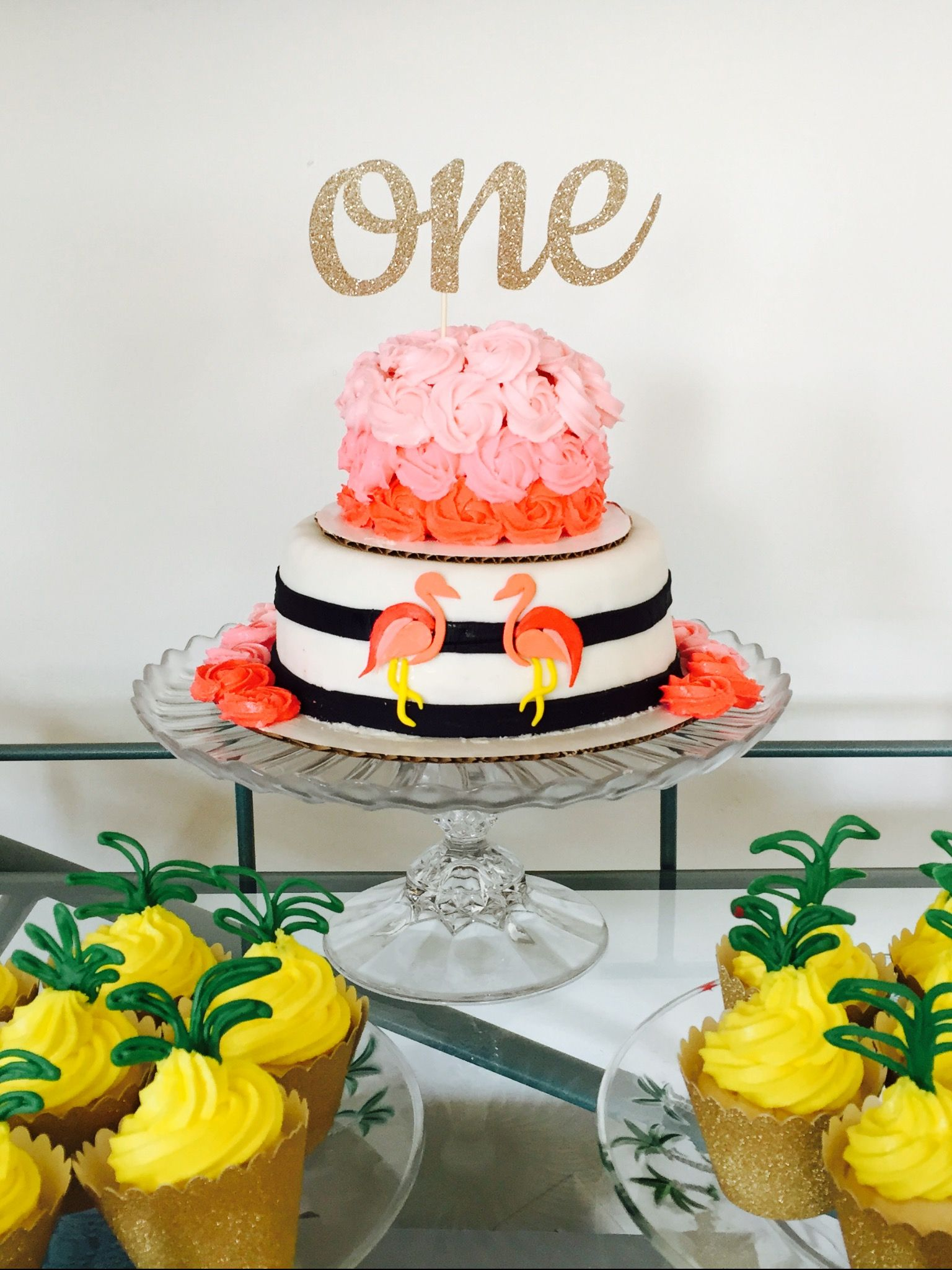First Birthday Cake Smash Cake Flamingos Pineapple