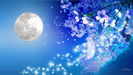 Nights Blue Tenderness Cherry Blossoms Petals Sensitive Blue Romantic Grass Full Moon T Cherry Blossom Wallpaper Anime Background Anime Cherry Blossom