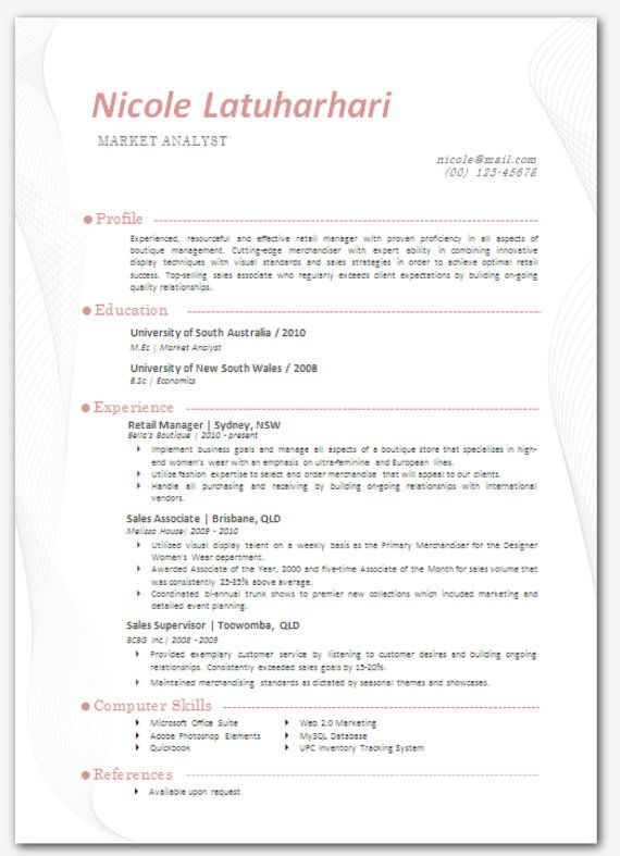 Modern Microsoft Word Resume Template Nicole by Inkpower on Etsy