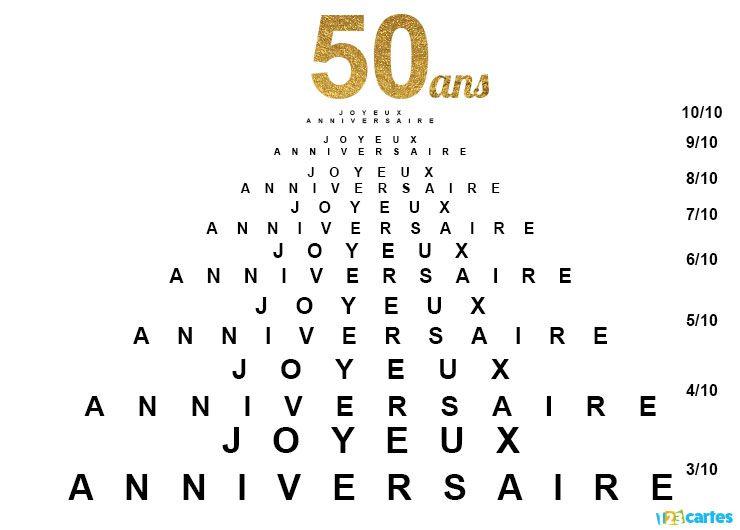 Carte Joyeux Anniversaire Test De Vue Mes 50 Ans Idees