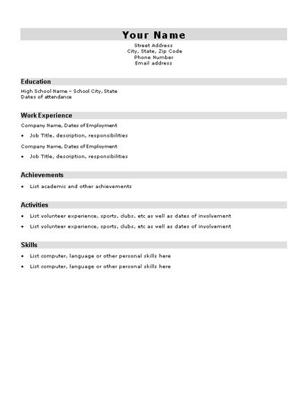 Basic Resume Template For High School Students -    www - free blank resume template