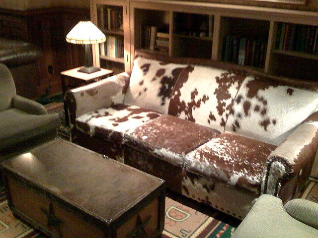 Cowhide Couch Looks Like My Ottoman But With More Hair On