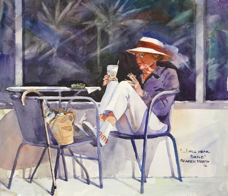 Karen March Watercolor Painting People Painting