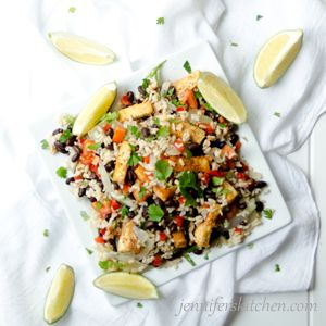 Lime Cilantro Rice with Black Beans and Tofu | Jennifer's Kitchen