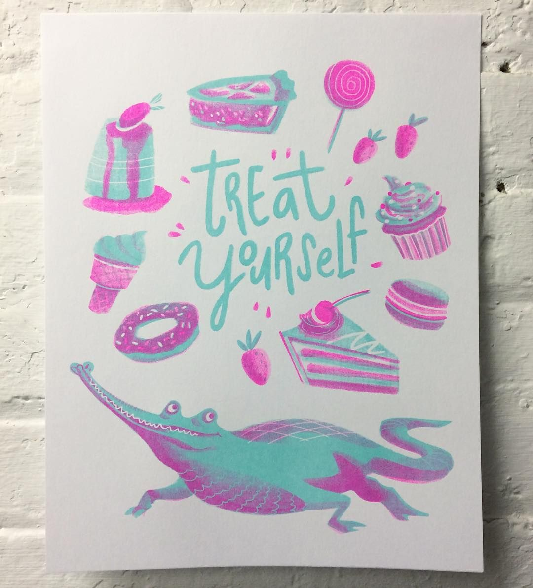 2 colour risograph print for Emily Chu Mint  Flo Pink ink
