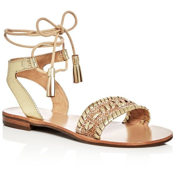 Jack Rogers Tate Raffia Ankle Tie Sandals ($90) ❤ liked on Polyvore  featuring shoes