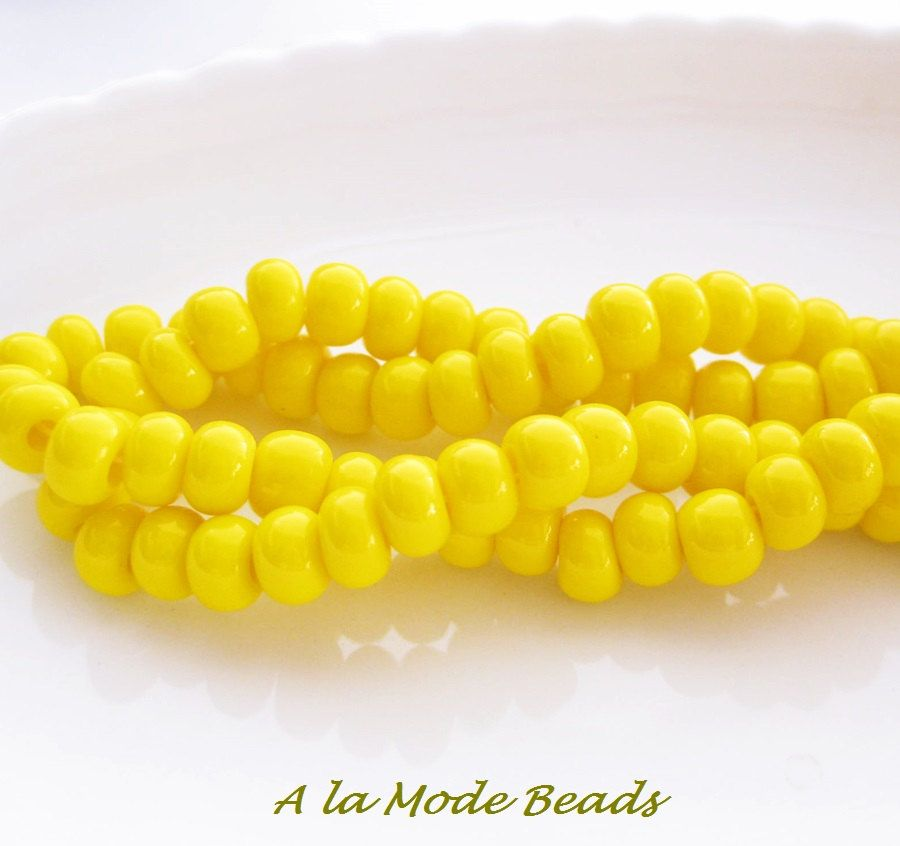 1/0 Yellow Czech Seed Bead (20) Size 1 Opaque Yellow Czech Seed Beads Large Seed Beads #2014 by AlaModeBeads on Etsy