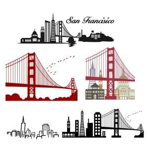 San Francisco California Skyline With Golden Gate Cuttable