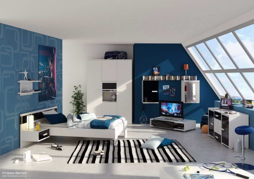 bold blue and white bedroom decorating bold