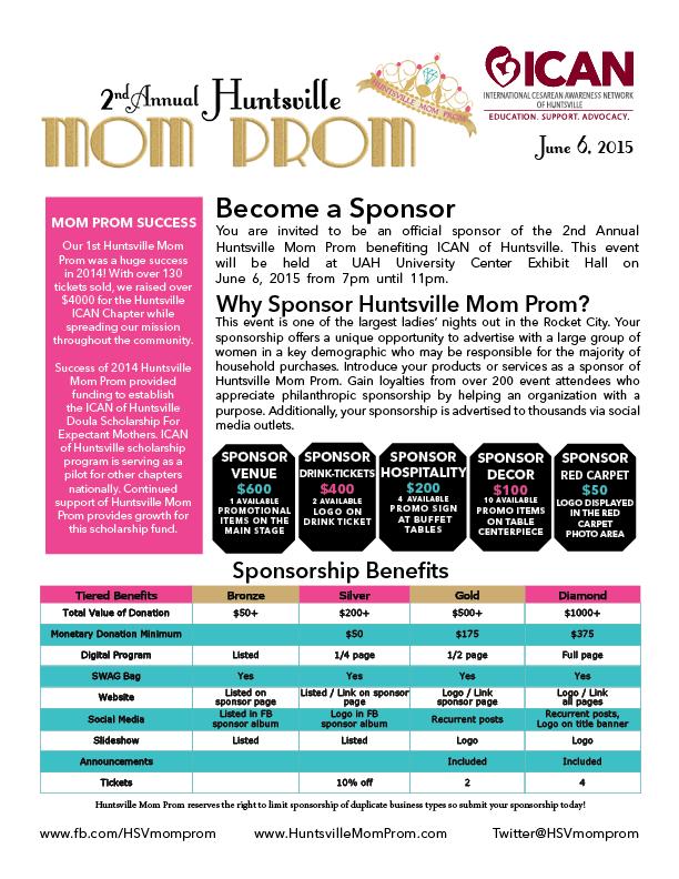 Sponsorship Package Front Page Hsvmomprom Icanofhsv Sponsorship Package Event Sponsorship Club Fundraisers