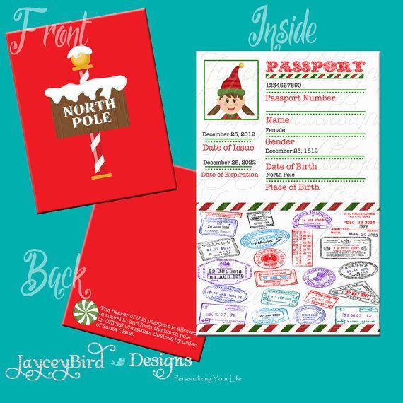 Elf Passport Printable Christmas North Pole Boy Or Girl
